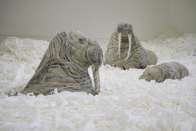 Recycled art newspaper walrus